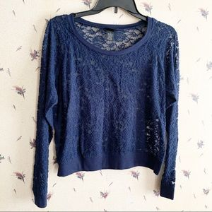 Rue21 Blue Lace See Through Top Size XL